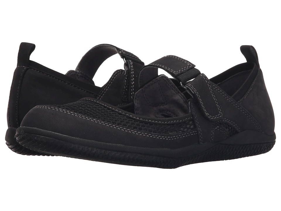 SoftWalk - Haddley (Black Nubuck Leather/Soft Mesh Fabric) Women
