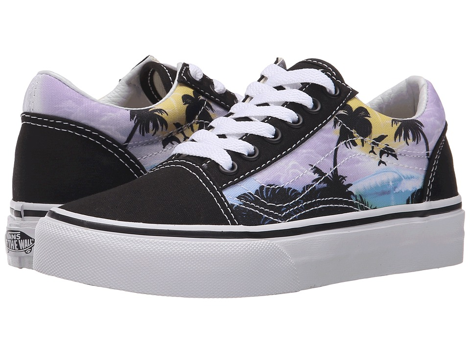 Vans Kids Old Skool (Little Kid/Big Kid) ((Dolphin Beach) Black/True White) Girls Shoes