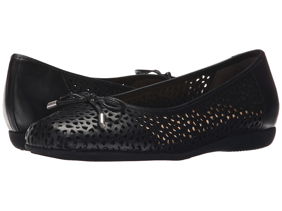 Trotters - Sante Laser (Black Vegetable Calf Leather Laser Cut) Women's Flat Shoes