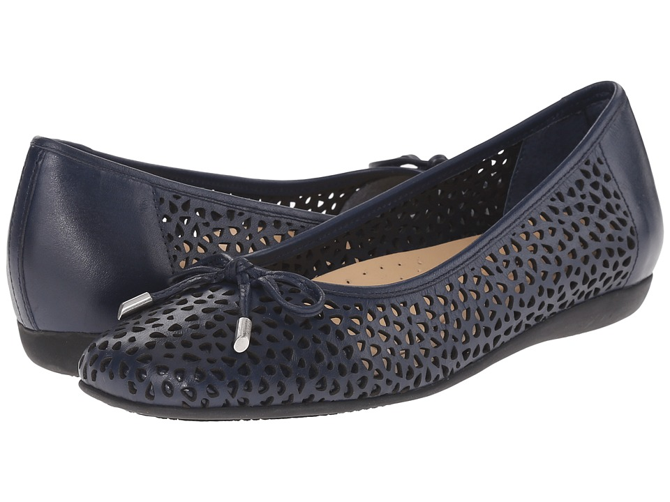 Trotters - Sante Laser (Navy Vegetable Calf Leather Laser Cut) Women's Flat Shoes