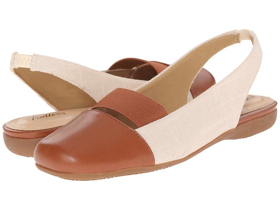 Trotters Sarina (Natural/Luggage Linen/Smooth Leather Man Made/Elastic) Women