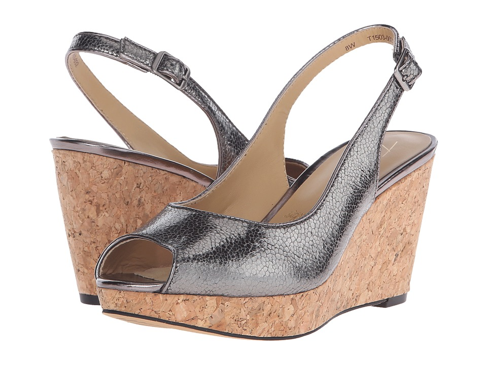 Trotters Allie (Pewter Irridescent Snake Embossed Leather) Women