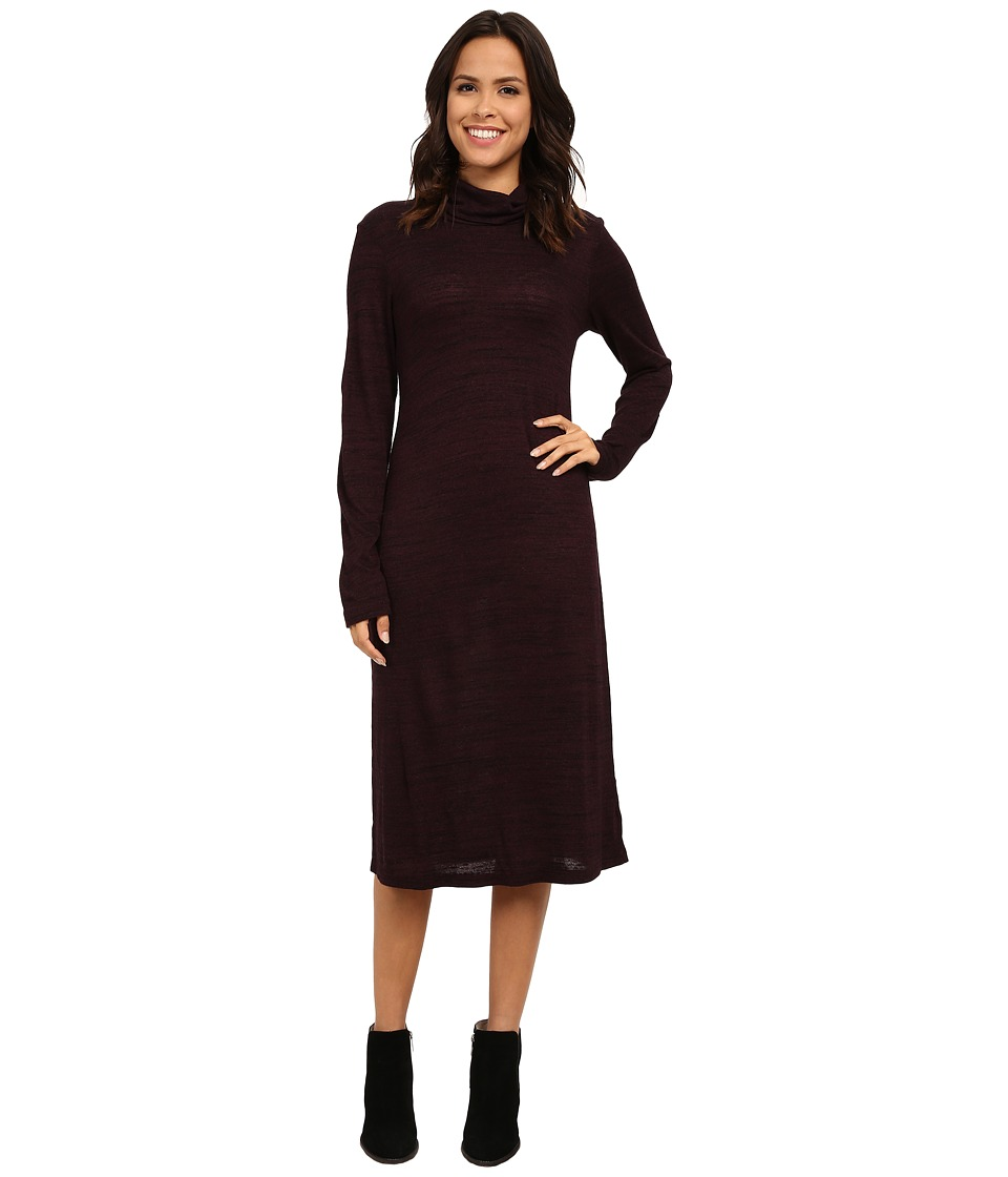 Allen Allen Long Sleeve Turtleneck Dress (Eggplant) Women