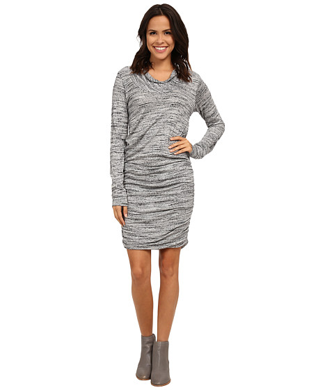 Allen Allen - Drape Front Ruched Dress (Heather Grey) Women's Dress