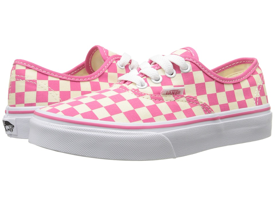 Vans Kids - Authentic (Little Kid/Big Kid) ((Checkerboard) Classic White/Hot Pink) Girls Shoes