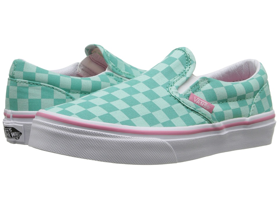 Vans Kids - Classic Slip-On (Little Kid/Big Kid) ((Tonal Checker) Florida Keys/Wild Rose) Girls Shoes