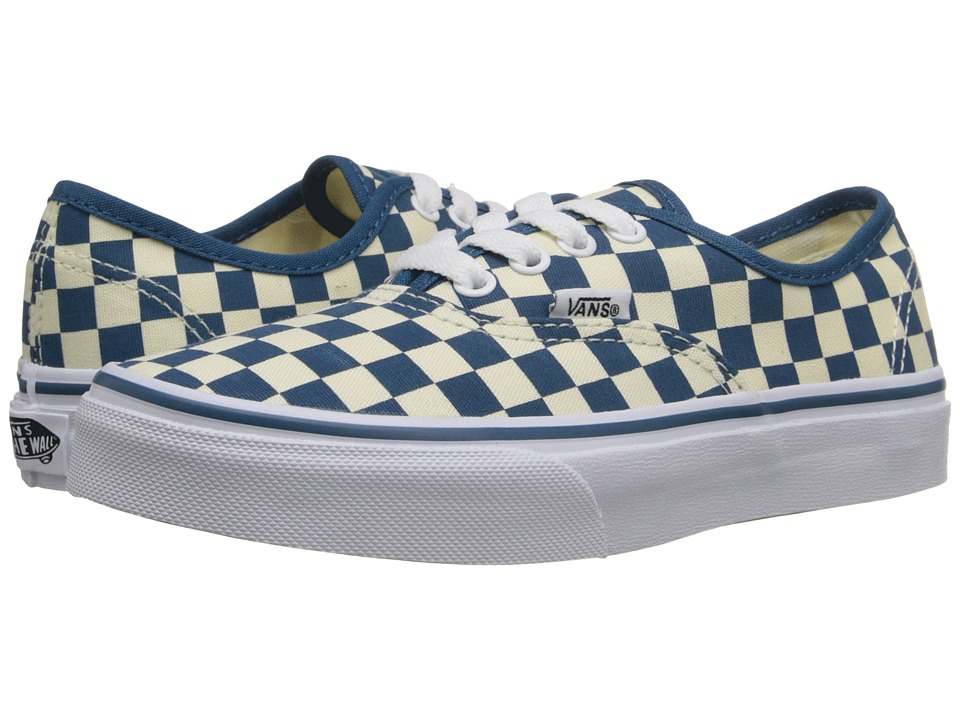 Vans Kids - Authentic (Little Kid/Big Kid) ((Checkerboard) Classic White/Moroccan Blue) Girls Shoes