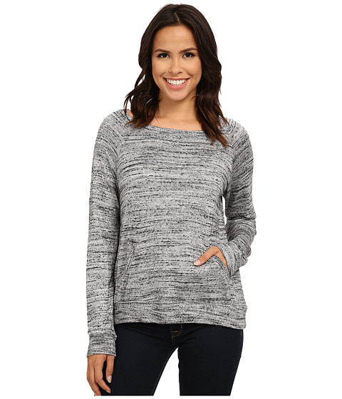 Allen Allen - Front Pocket Long Sleeve Crop Crew (Heather Grey) Women