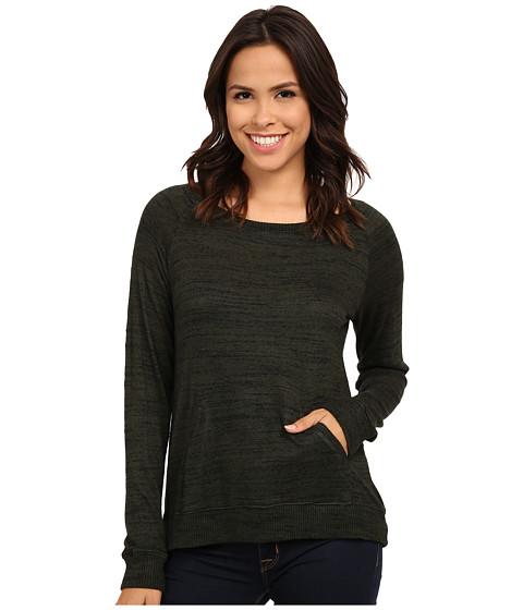 Allen Allen - Front Pocket Long Sleeve Crop Crew (Dark Olive) Women's Clothing