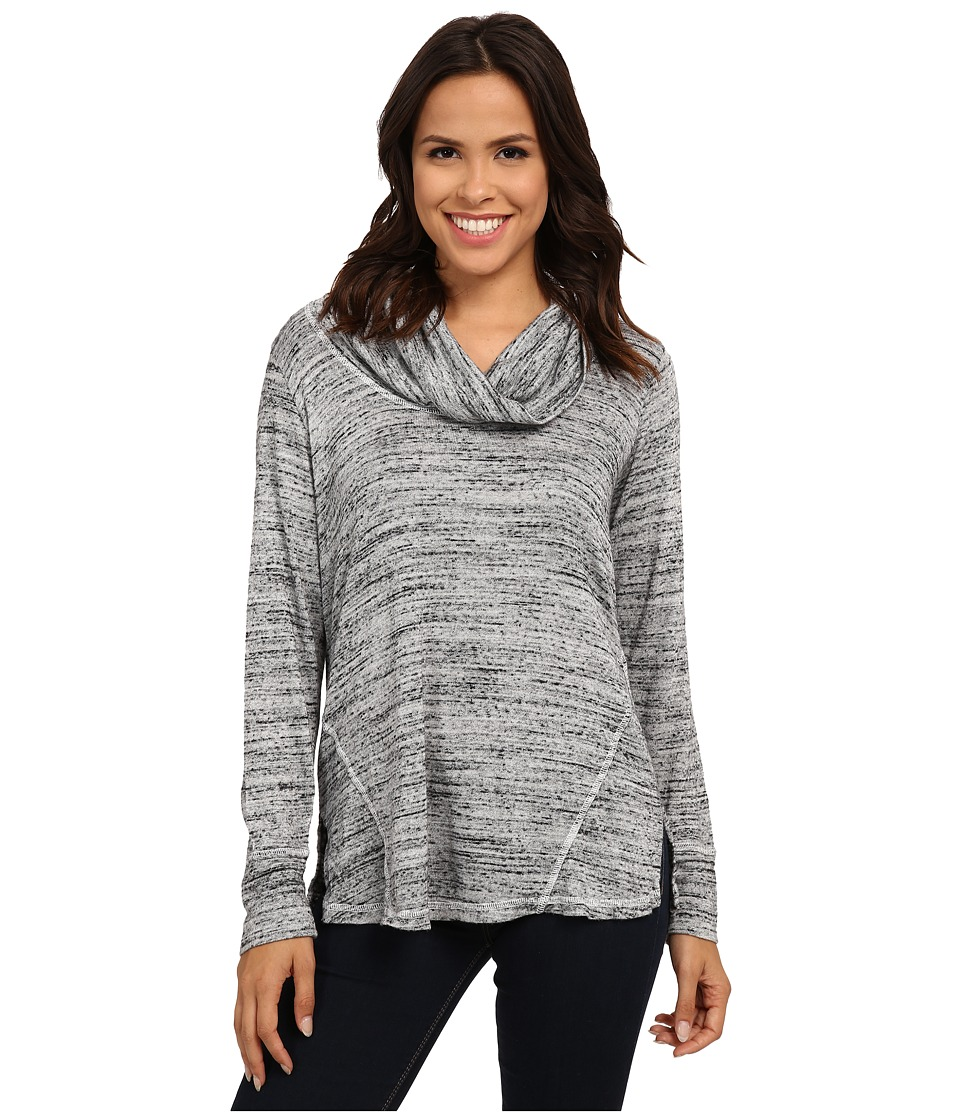 Allen Allen - Long Sleeve Seamed Top (Heather Grey) Women's Clothing