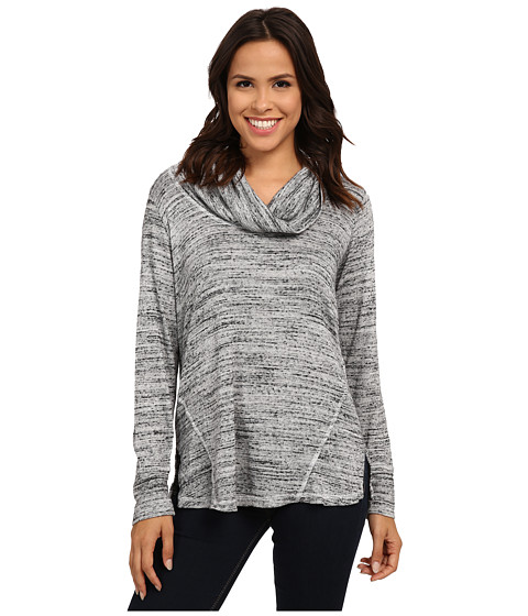 Allen Allen - Long Sleeve Seamed Top (Heather Grey) Women