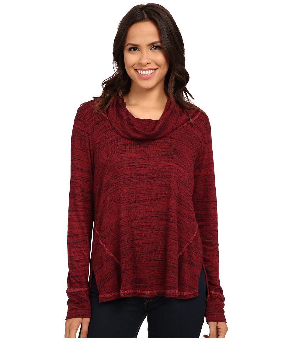 Allen Allen - Long Sleeve Seamed Top (Port) Women's Clothing