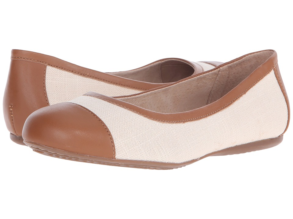 SoftWalk - Napa (Natural/Luggage Linen/Smooth Leather) Women's Flat Shoes