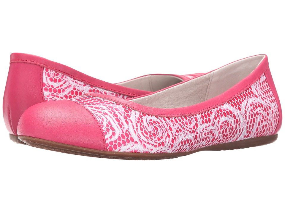 SoftWalk - Napa (Pink Rose Fabric/Smooth Leather) Women's Flat Shoes
