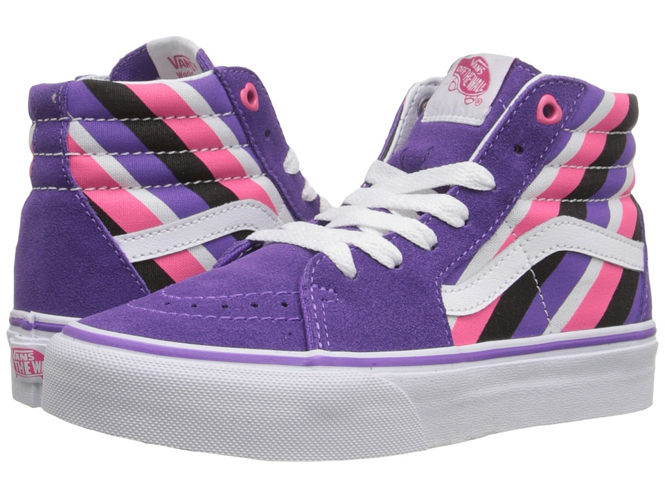 Vans Kids - SK8-Hi (Little Kid/Big Kid) ((Pink Helmet Posse) Stripes/Deep Lavender) Girls Shoes