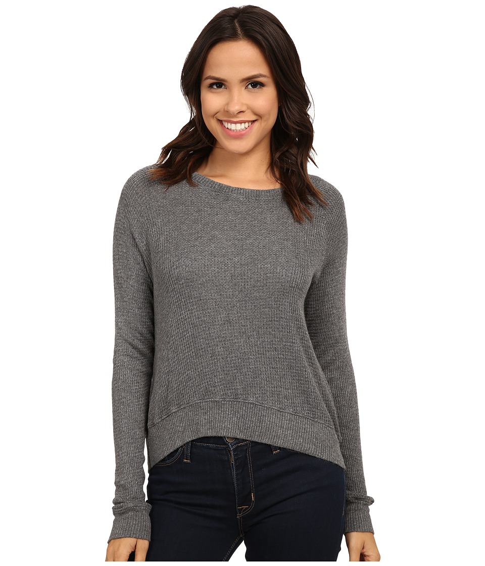 Allen Allen - Long Sleeve Crop Open Crew (Heather Grey) Women's Clothing
