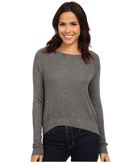 Allen Allen - Long Sleeve Crop Open Crew (Heather Grey) Women