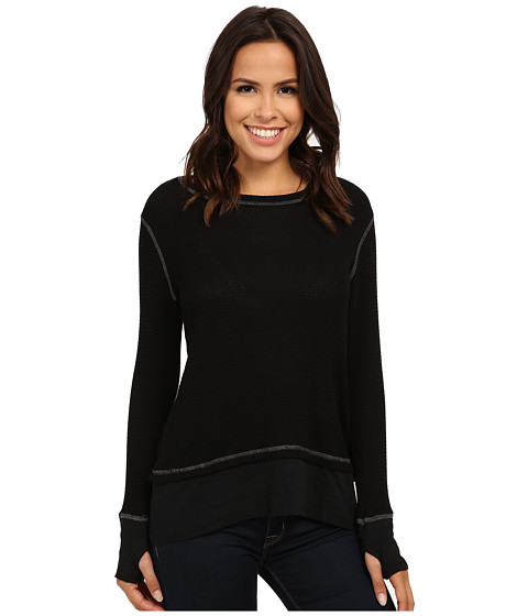 Allen Allen - Long Sleeve Crew w/ Contrast Hem (Black) Women's Clothing