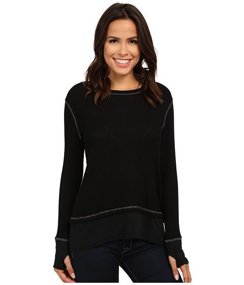 Allen Allen - Long Sleeve Crew w/ Contrast Hem (Black) Women's Clothing
