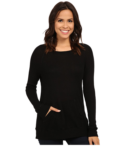 Allen Allen - Long Sleeve Front Pocket Raglan Crew (Black) Women's T Shirt