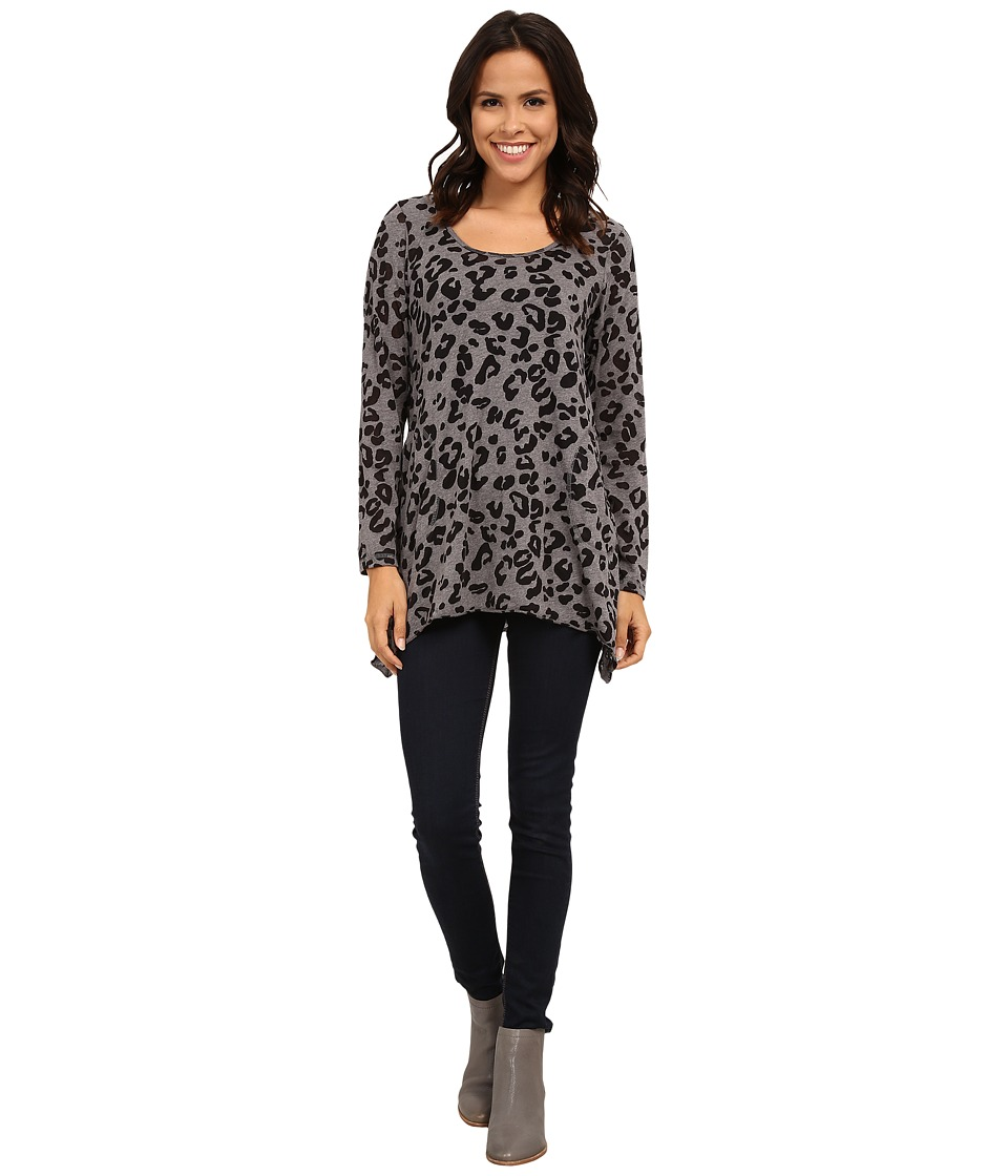 Allen Allen - Long Sleeve Animal Scoop Tunic (Heather Grey) Women's Clothing