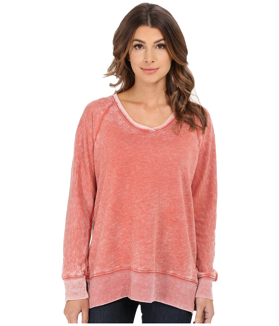 Allen Allen - Long Sleeve Raglan Vee Tunic (Sweet Potato) Women's Sweater