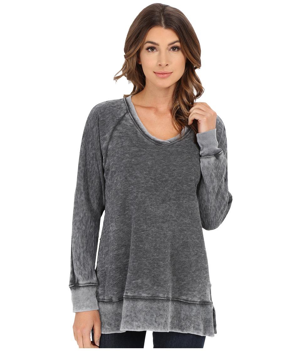 Allen Allen - Long Sleeve Raglan Vee Tunic (Black) Women's Sweater