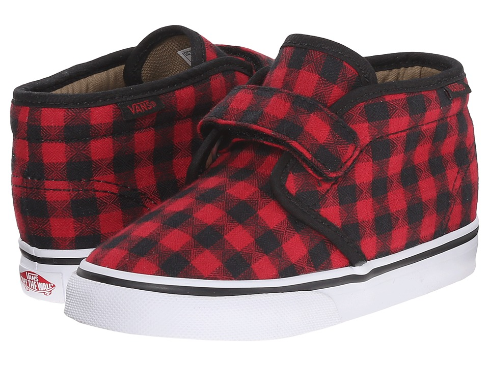 Vans Kids - Chukka V (Toddler) ((Twill & Gingham) Black/Racing Red) Boys Shoes
