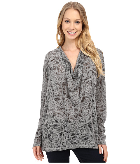 Allen Allen - Long Sleeve Lace Drape Back Top (Heather Grey) Women