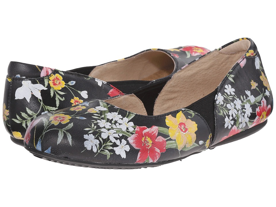 SoftWalk - Norwich (Midnight Floral Printed Leather) Women's Dress Flat Shoes