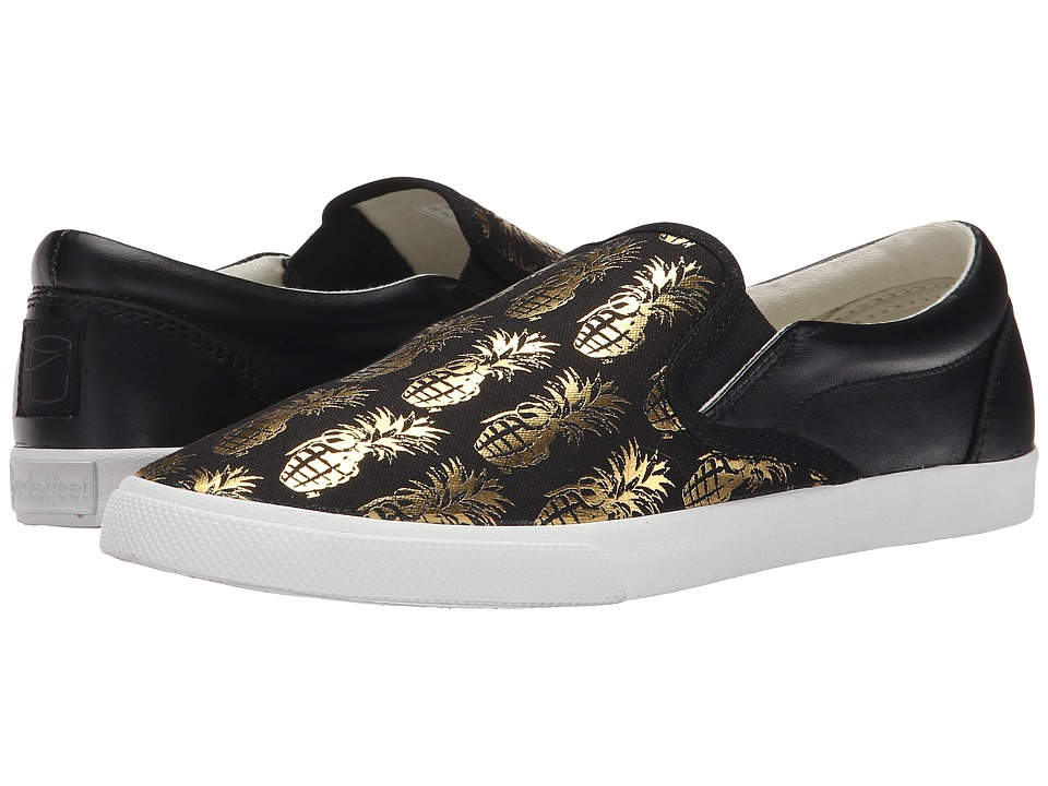 BucketFeet - Pineappleade (Black/Gold Leather) Women's Shoes
