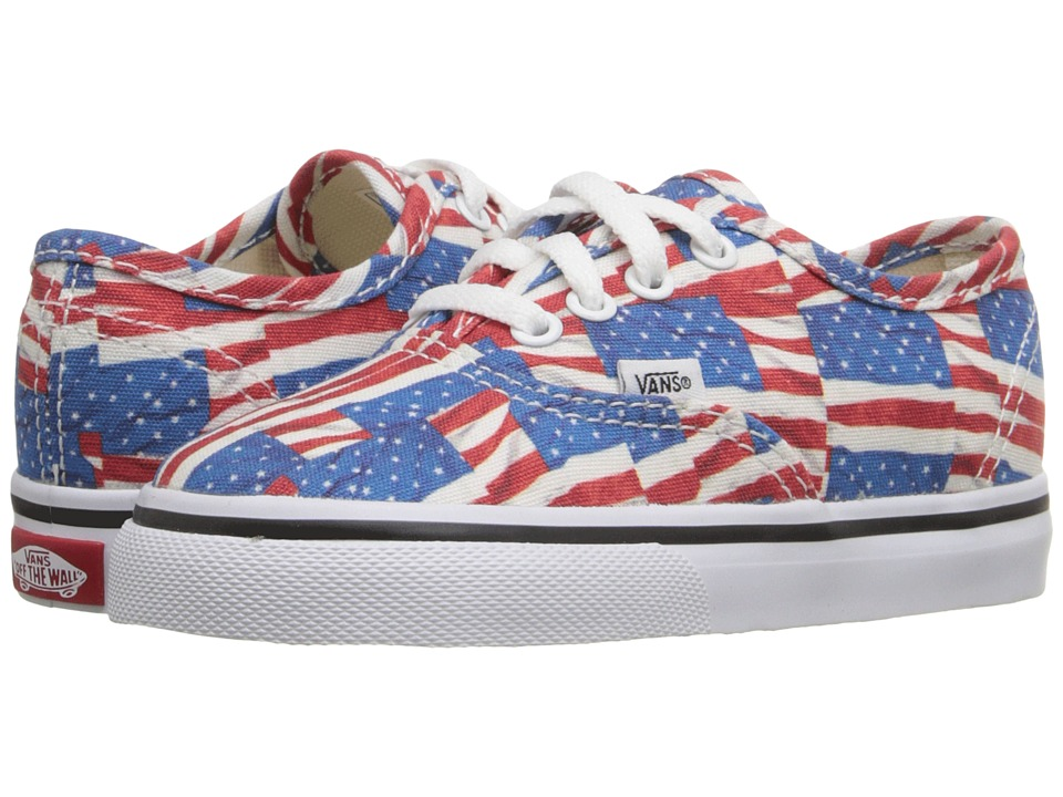 Vans Kids - Authentic (Toddler) ((Free Flag) Red/True White) Kids Shoes
