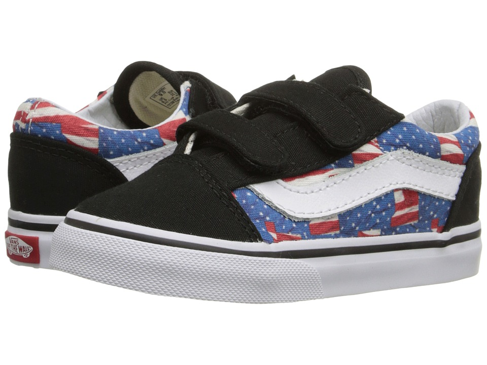 Vans Kids - Old Skool V (Toddler) ((Free Flag) Black/True White) Kid