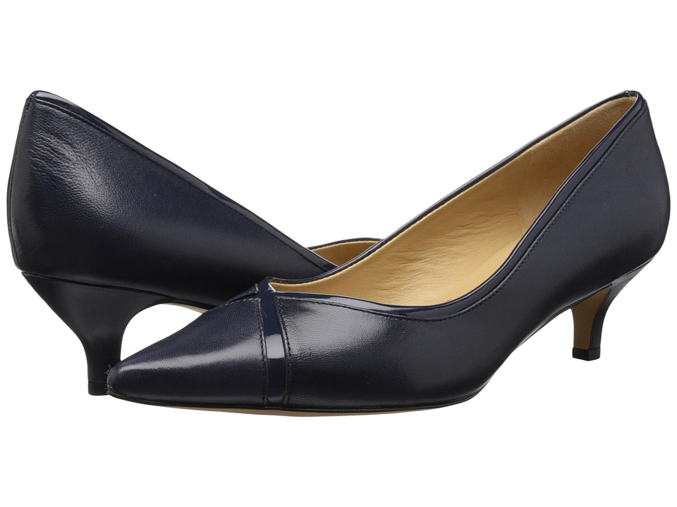 Trotters - Kelsey (Navy Glazed Kid Leather/Patent Man Made) Women's 1-2 inch heel Shoes