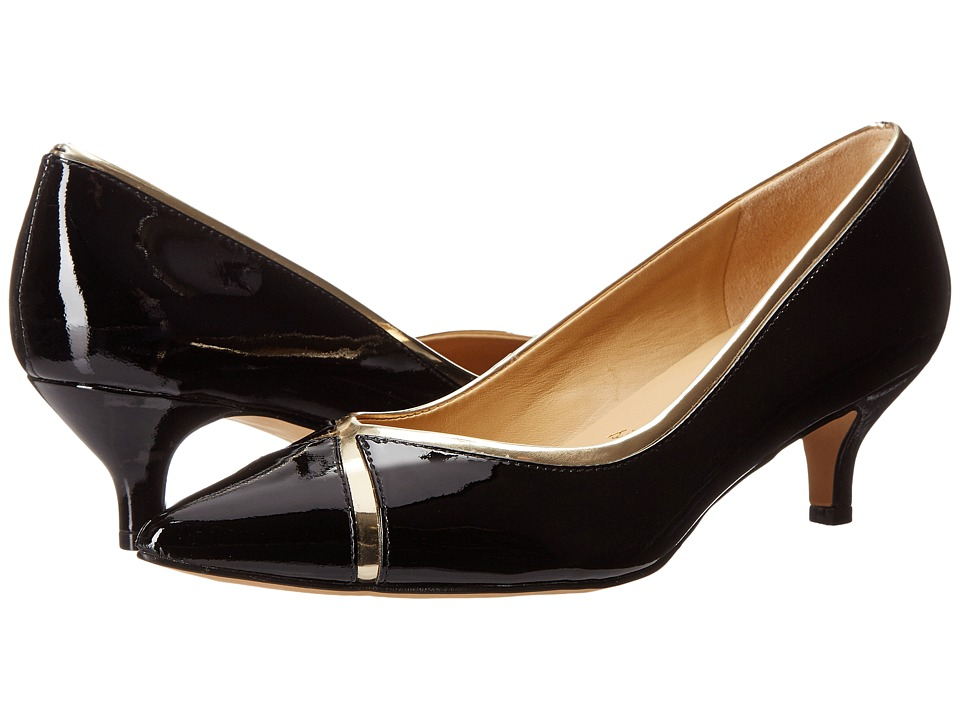 Trotters - Kelsey (Black/Gold Soft Patent Leather/Mirror Metallic) Women's 1-2 inch heel Shoes
