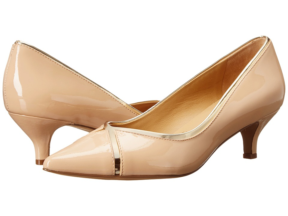Trotters - Kelsey (Nude/Gold Soft Patent Leather/Mirror Metallic) Women's 1-2 inch heel Shoes