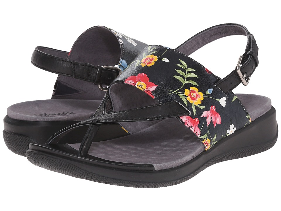 SoftWalk - Teller (Midnight Floral Printed Leather) Women's Sandals