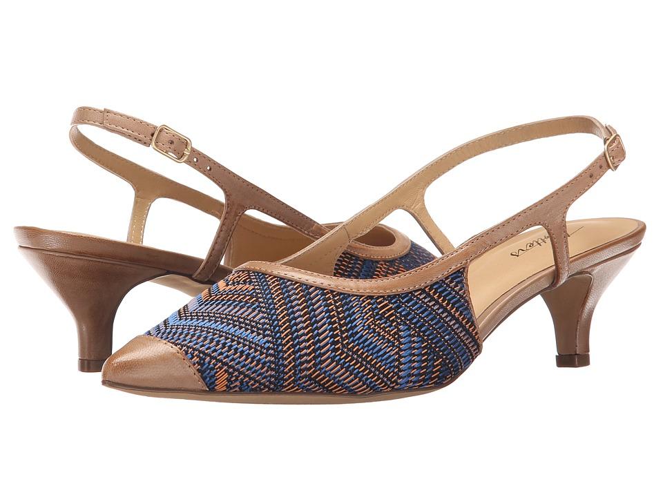 Trotters - Kimberly (Mustard Navy Multi/Tan Multi Weave Textile/Burnished Vegetable K) Women's Slip-on Dress Shoes