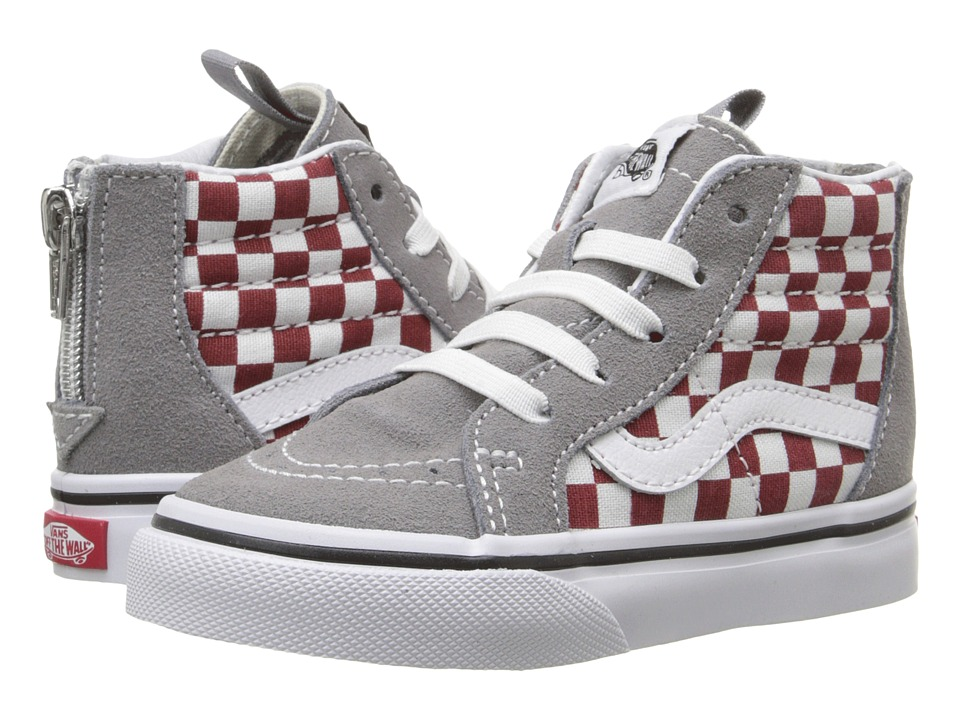 Vans Kids - Sk8-Hi Zip (Toddler) ((Checkerboard) Frost Gray/Rhubarb) Boys Shoes