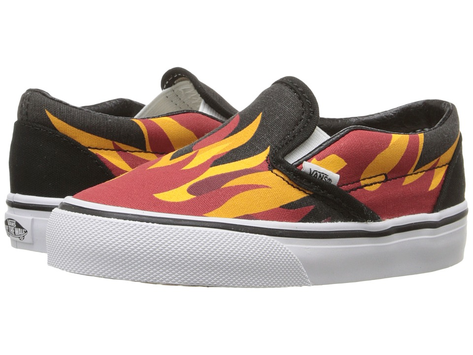 Vans Kids - Classic Slip-On (Toddler) ((Flame) Black/Racing Red) Boys Shoes