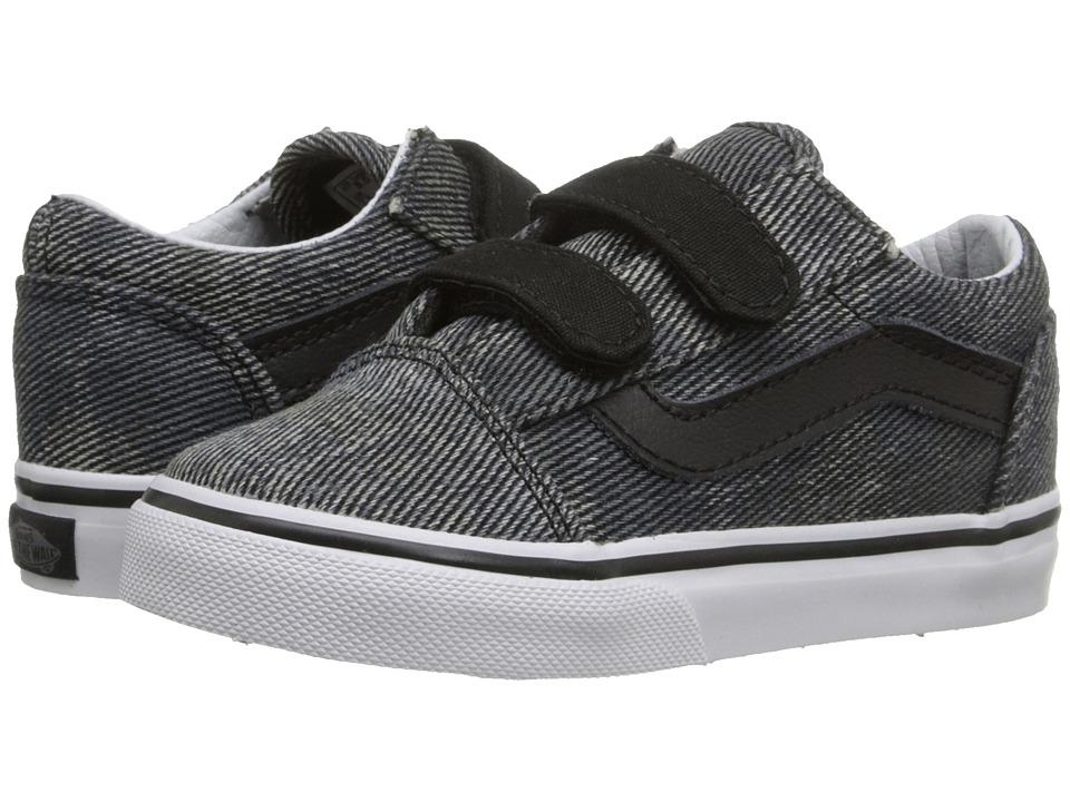 Vans Kids - Old Skool V (Toddler) ((Acid Denim) Navy/Black) Boys Shoes
