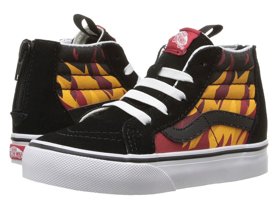 Vans Kids - Sk8-Hi Zip (Toddler) ((Flame) Black/Racing Red) Boys Shoes