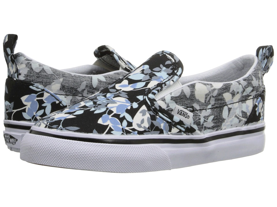Vans Kids - Slip-On V (Toddler) ((Reverse Floral) Black/True White) Girls Shoes