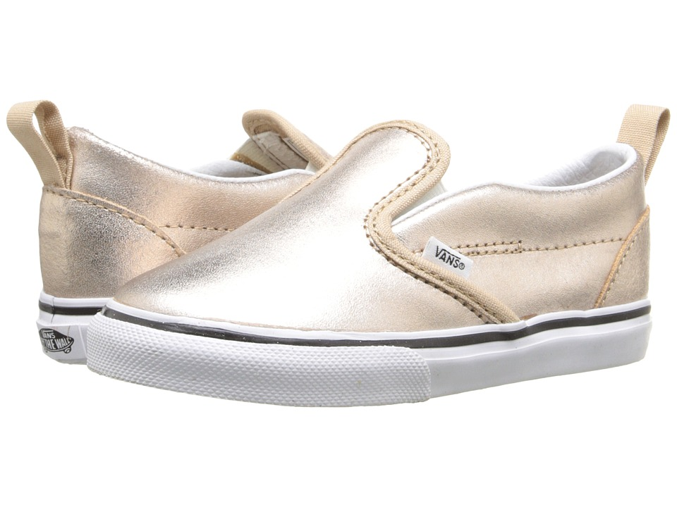 Vans Kids - Slip-On V (Toddler) ((Metallic Leather) Rose Gold) Girls Shoes
