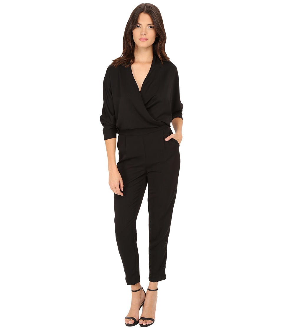 ONLY - Delta 3/4 Sleeve Fold Over Jumpsuit (Black) Women's Jumpsuit & Rompers One Piece