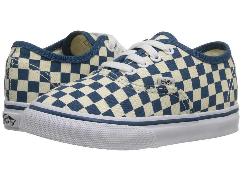 Vans Kids - Authentic (Toddler) ((Checkerboard) Classic White/Moroccan Blue) Girls Shoes