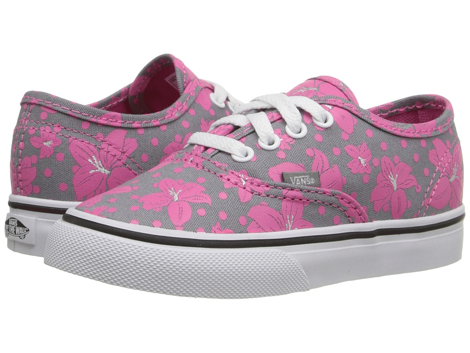 Vans Kids - Authentic (Toddler) ((Flower Polka) Frost Gray/Azalea Pink) Girls Shoes