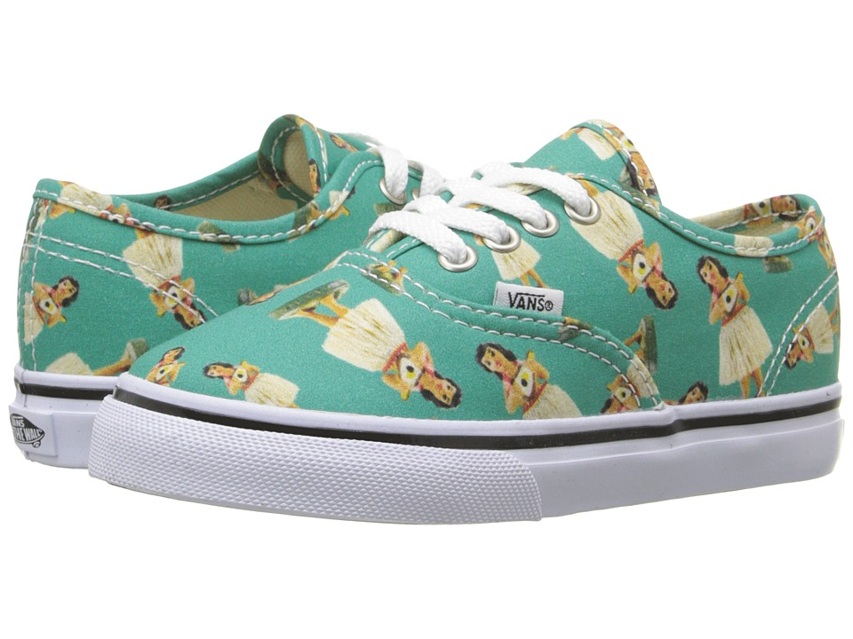 Vans Kids - Authentic (Toddler) ((Digi Hula) Turquoise/True White) Girls Shoes