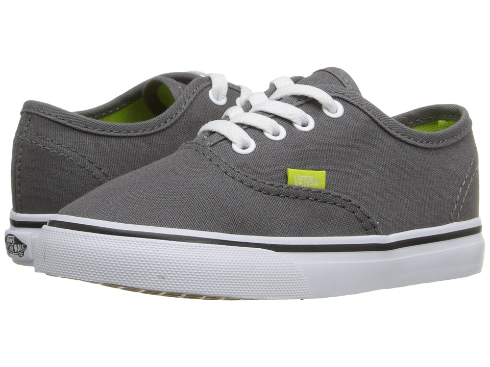Vans Kids - Authentic V Lace (Toddler) ((Pop) Pewter/Lime Punch) Boys Shoes