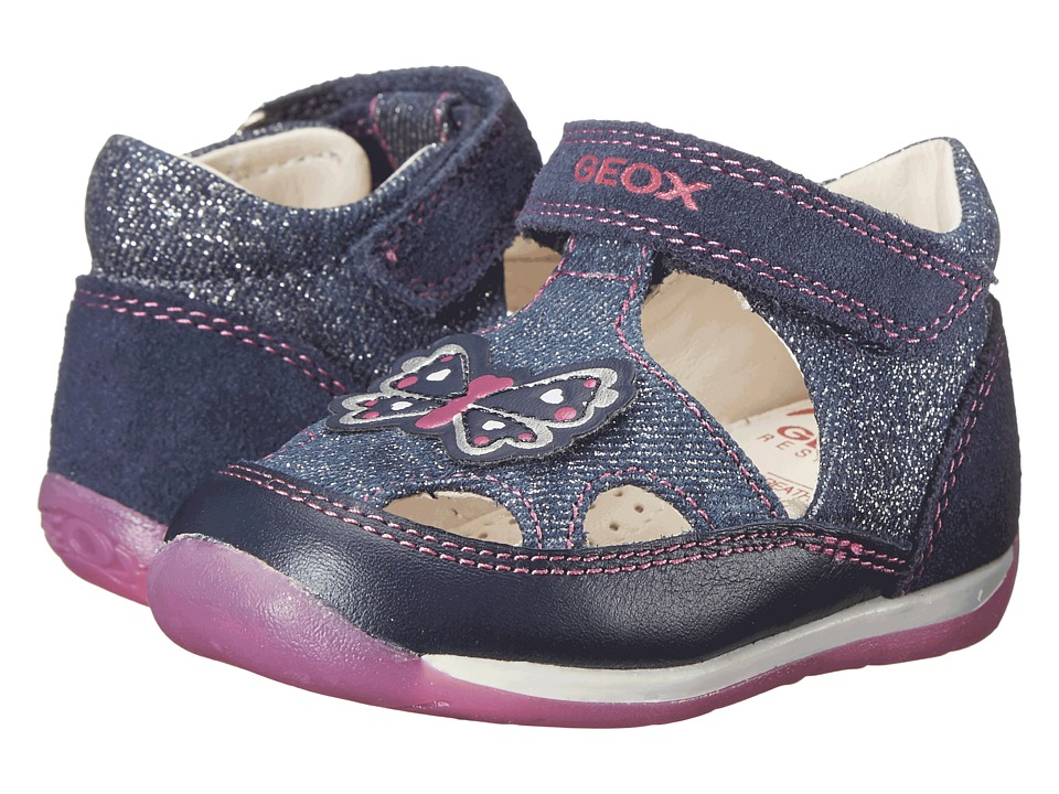 Geox Kids - Baby Each Girl 6 (Infant/Toddler) (Navy/Fuchsia) Girl's Shoes